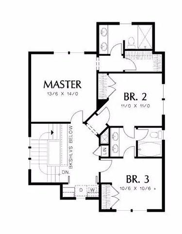 Plano de casa de 3 dormitorios con tejas asfálticas