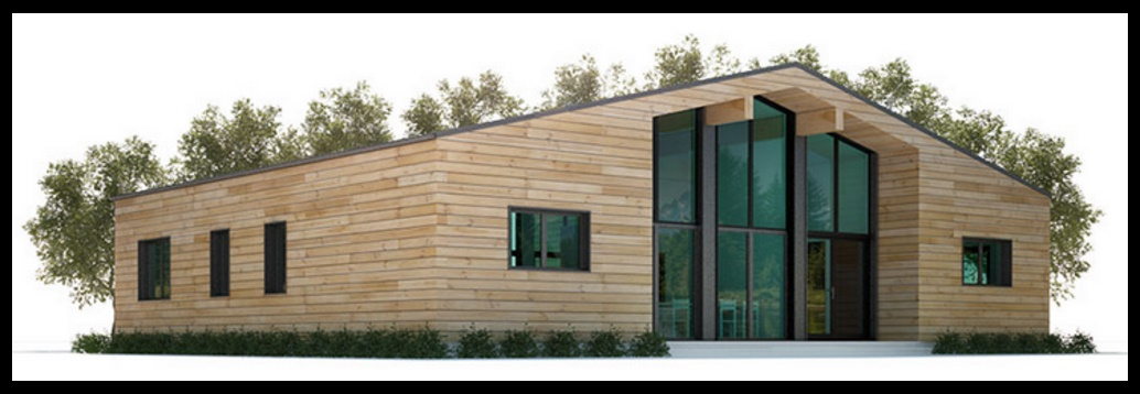 Plano de casa de 3 dormitorios revestida en madera