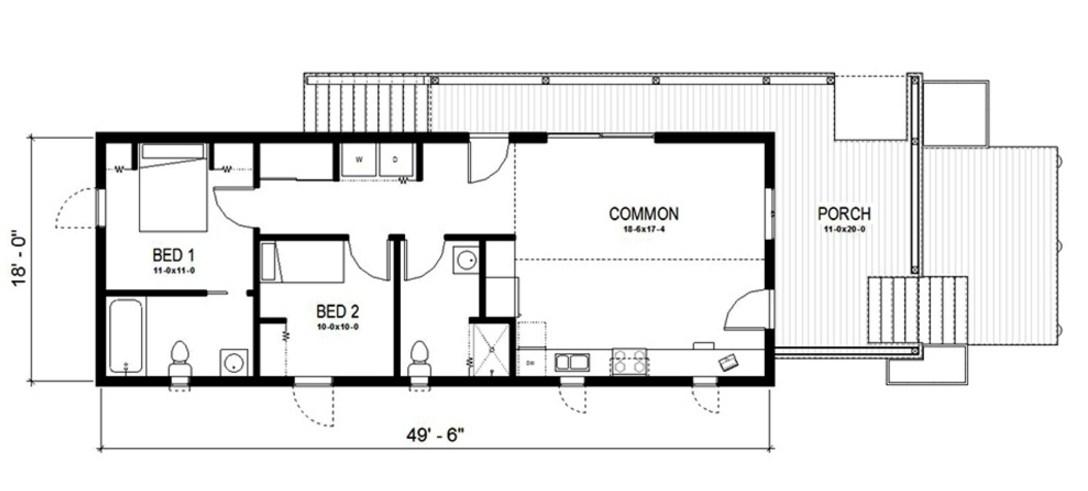 Plano de casa de 75m2