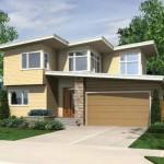 Plano de casa de dos pisos con terminaciones irregulares