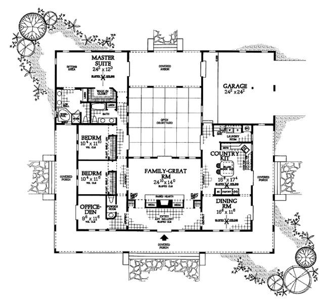 Plano de casa grande con galerías