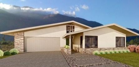 Plano de casa grande con techos a 2 aguas