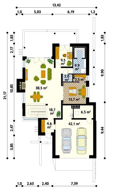 Plano de casa moderna con terraza