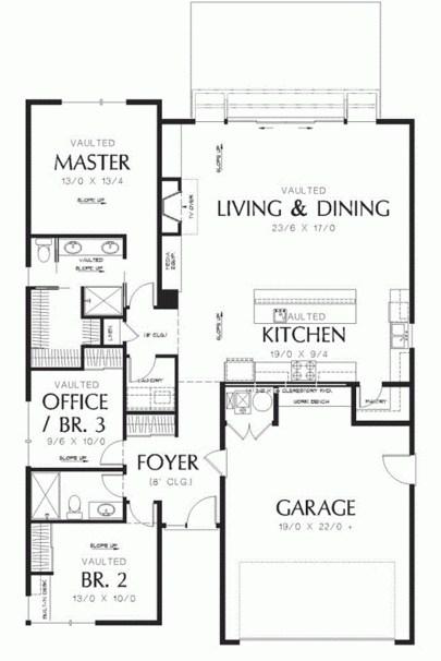 Plano de casa moderna de 2 dormitorios