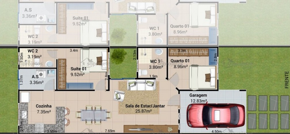 planos de casas modernas entre medianeras