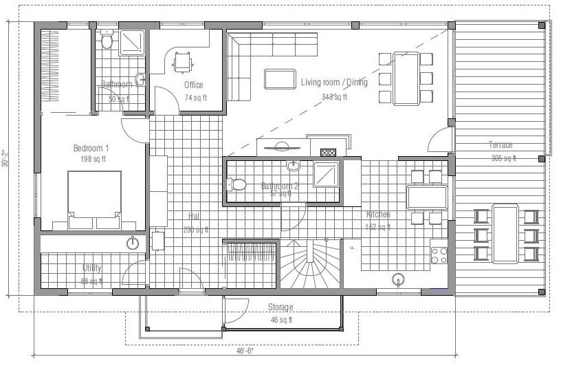 Prefabricada de 4 dormitorios planos de casas modernas for Planos de casas de 2 pisos