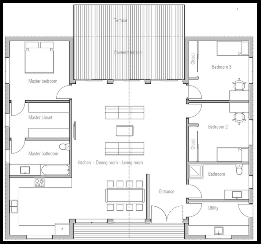 Plano de casa revestida en madera