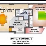 Plano de departamento de 1 dormitorio