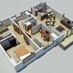 Plano de departamento moderno de 95 m2