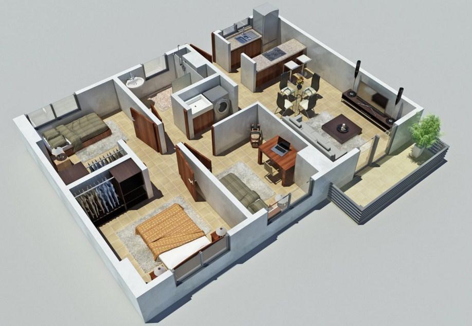 Plano de departamento moderno planos de casas modernas for Decorar casas online 3d