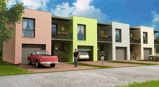 Plano de duplex moderno de tres dormitorios