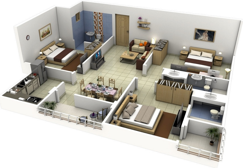Planos de casas modernas de 3 dormitorios Planos interiores de casas modernas