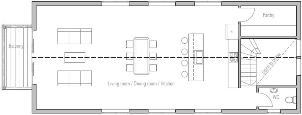 Construir Un Baño En Planta Alta: en la planta baja un gran ambiente con living, cocina y comedor