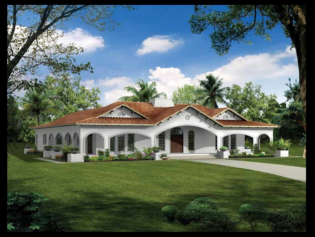 Plano de casa con estilo espa ol for Territorial style house plans