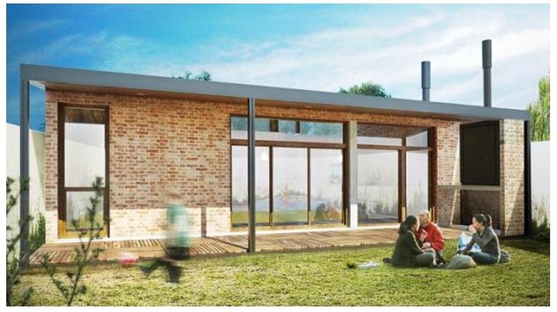 Fachada planos de casas modernas - Ladrillos a la vista ...