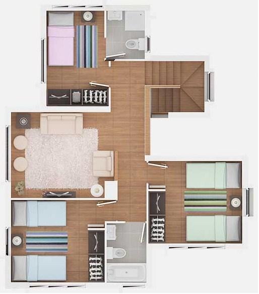 Plano de casa con 3 dormitorios arriba