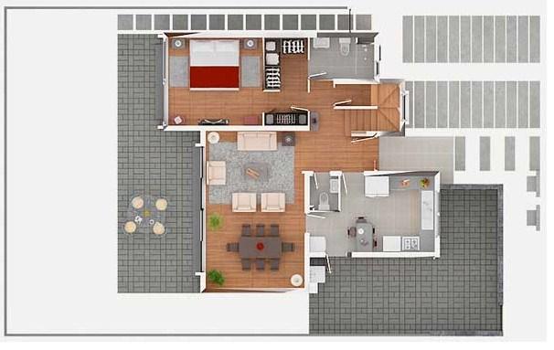 Plano de casa con 3 dormitorios en la planta alta for Planos de casas de tres dormitorios en una planta