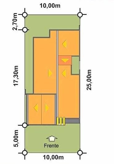 Plano de casa de 10 x 25 m
