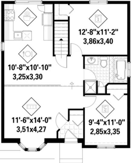 Plano de casa de 2 dormitorios con medidas en metros