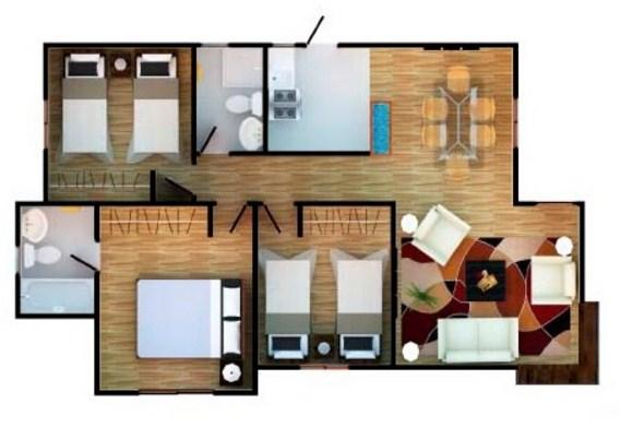 Plano de casa prefabricada de 3 dormitorios