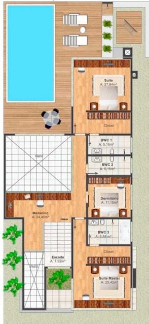 Plano de casa residencial moderna