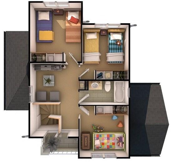 Plano de casa en 3d planos de casas modernas for Tipos de escaleras para casas de 2 pisos