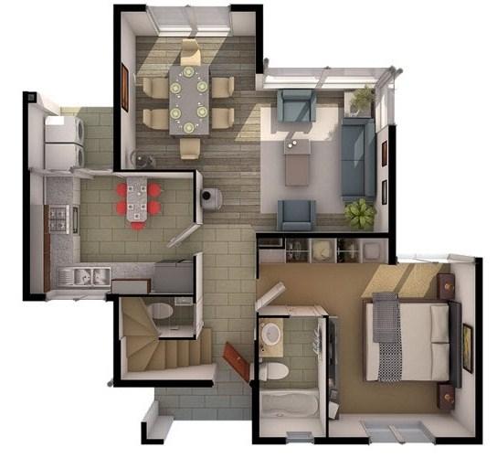 Plano de casa en 3d planos de casas modernas for Modelos de chalets de una planta