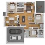 Plano de casas tres habitaciones