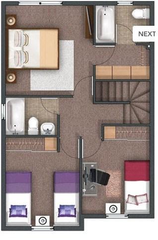 Plano de duplex de 3 dormitorios