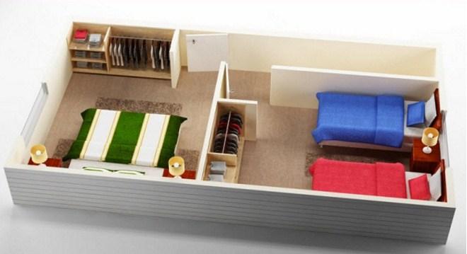 Plano de vivienda de 2 dormitorios
