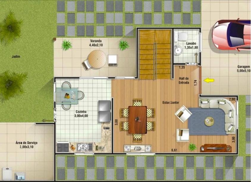 Plano de vivienda de dos plantas for Viviendas modernas de una planta