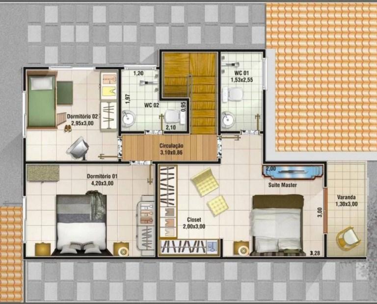Plano de vivienda de dos plantas y 3 dormitorios