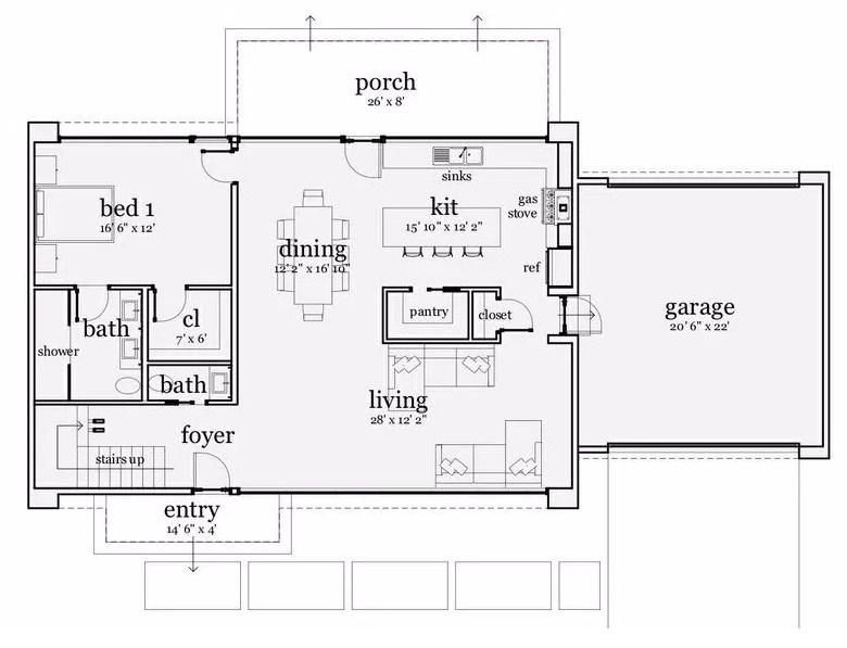 Plano de vivienda familiar de dos plantas