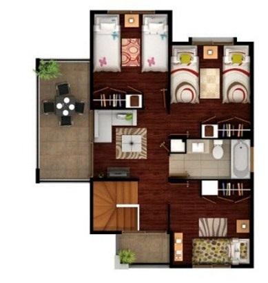 Plano de vivienda moderna con muebles