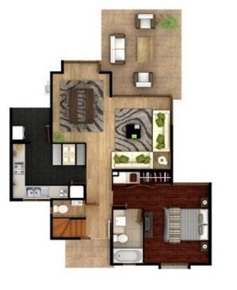 Plano de vivienda moderna de 2 pisos