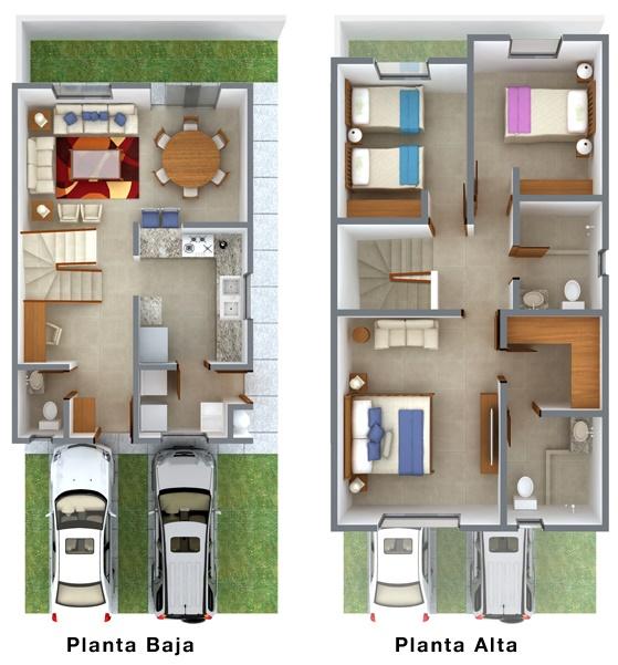 Plano de casa de dos plantas planos de casas modernas for Modelos de casas minimalistas de dos plantas