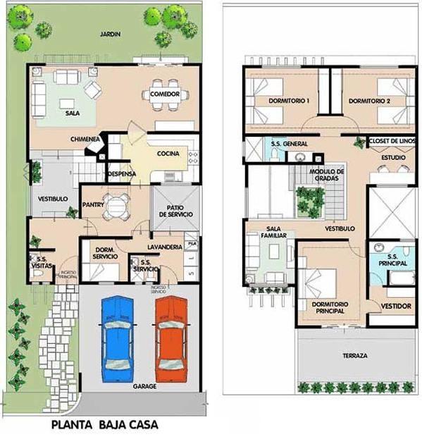 Planos de casas de dos plantas planos de casas modernas for Viviendas modernas de una planta