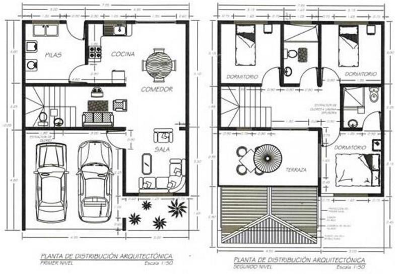 Planos de casas modernas de 2 pisos con medidas for Planos de viviendas modernas