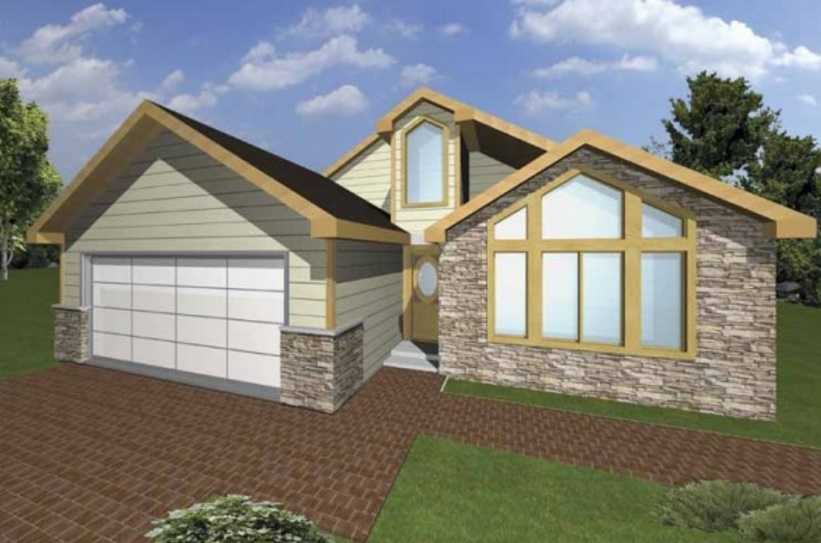 Diseño de casa con revestimiento en madera y piedra