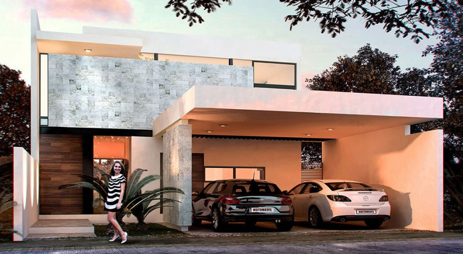 Plano de casa moderna de dos pisos con cochera doble for Fachadas modernas para casas de dos pisos