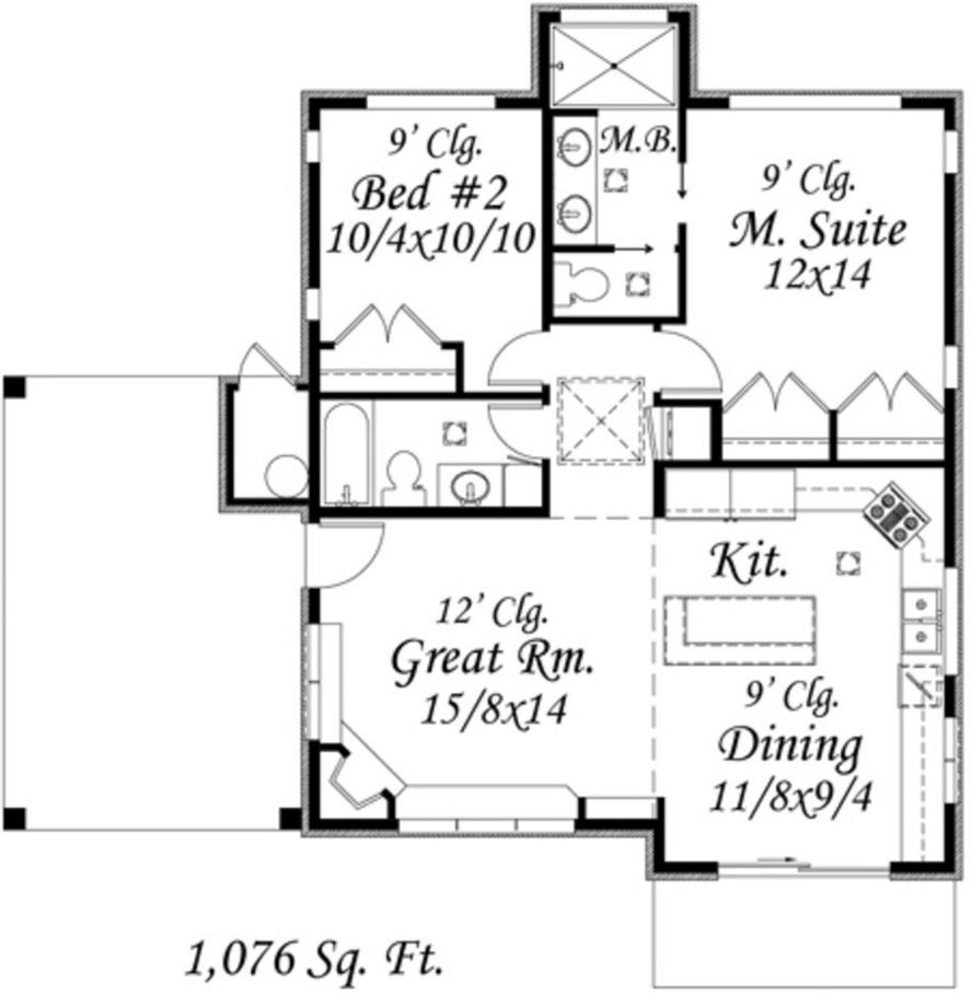 Plano de casa de 2 dormitorios revestida en piedra