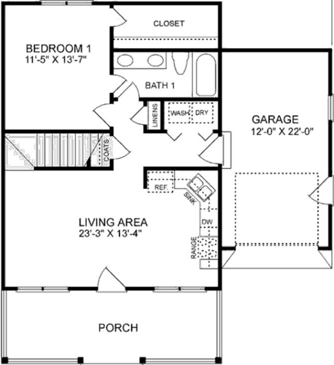 Plano de casa de dos pisos y tres dormitorios