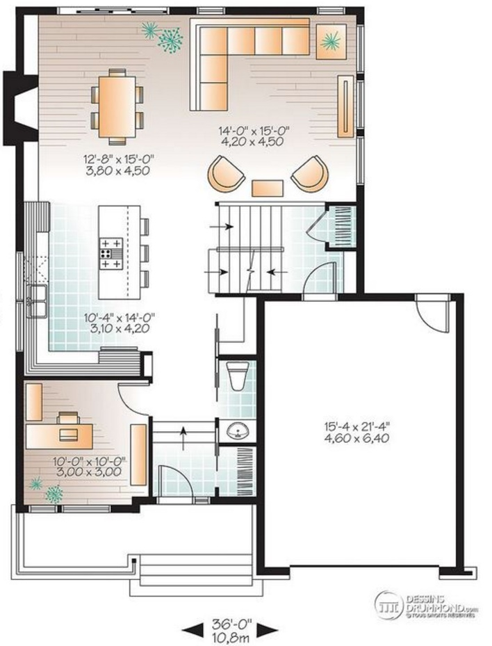 plano de casa moderna con dormitorios y revestida en madera