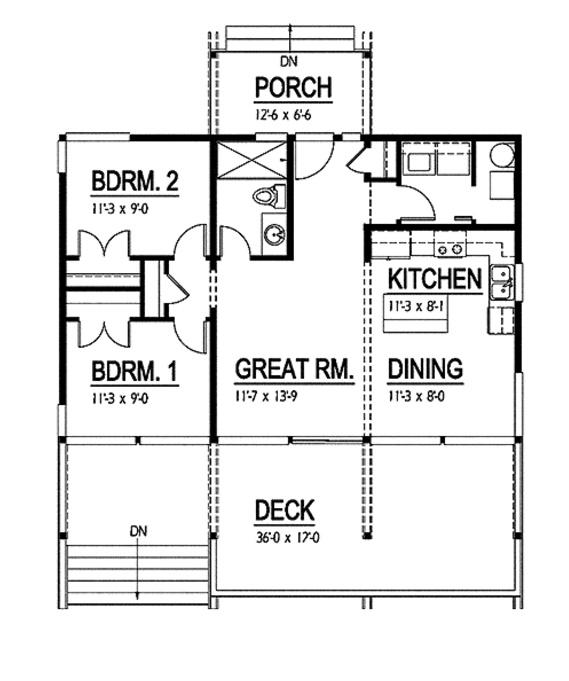 Plano de casa moderna con el frente vidriado