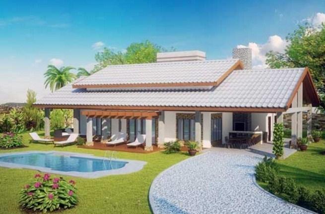 Plano de casa de 3 habitaciones con piscina for Planos de casas medianas