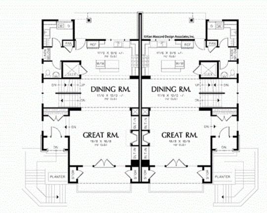 Plano de casa moderna de 3 pisos