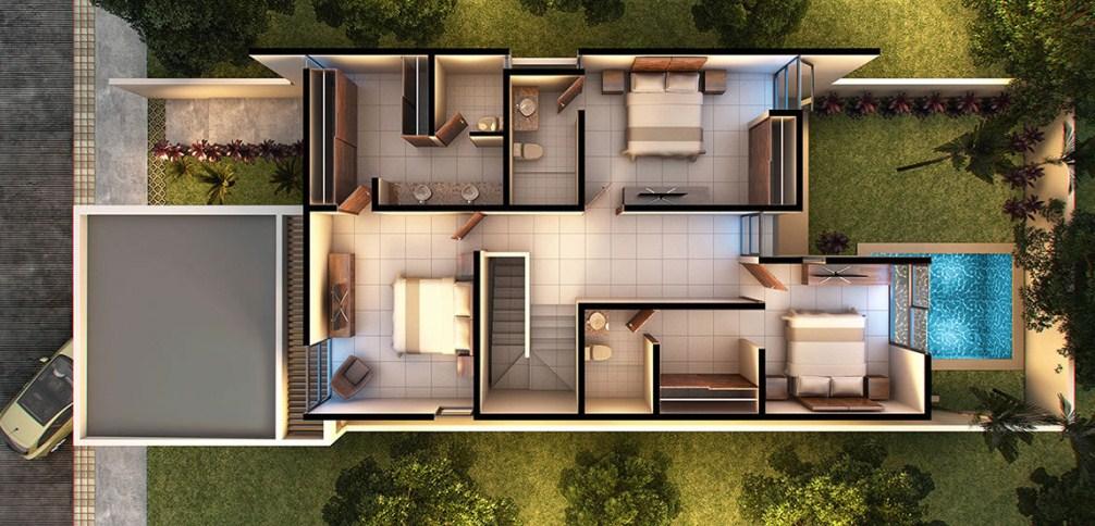 Plano de casa moderna de dos pisos con cochera doble for Planos para casas de dos pisos modernas