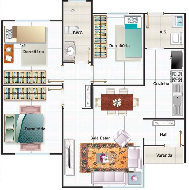 Plano de casa tres dormitorios una planta for Casas en ele planos