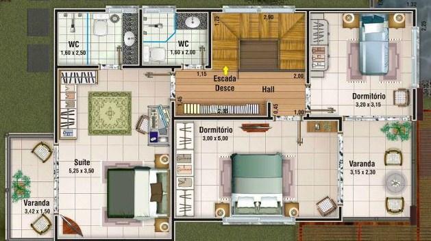 Plano de duplex moderno