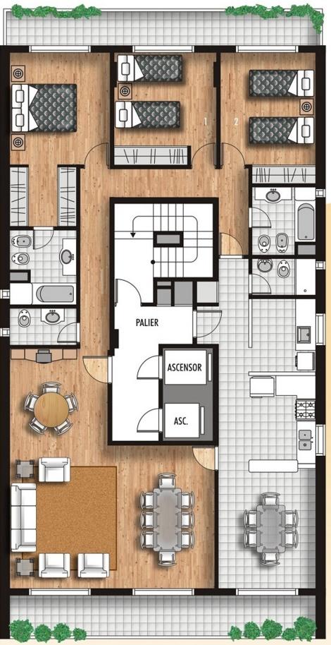 Planos de apartamentos 3 habitaciones